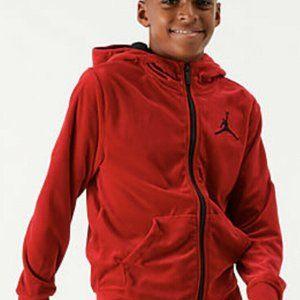 NWT Air Jordan Nike Red Velour Zip Up Hoodie S